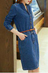 Chic V-Neck Long Sleeve Pocket Design Buttoned Slimming Women's Denim Dress -