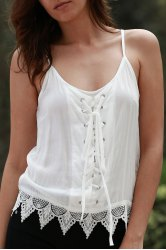 Lace Up Scoop Neck Cami Tank Top