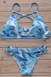 Stylish Cross Halter Floral Print Women's Bikini Set - LIGHT BLUE S