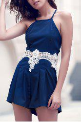 Lace Trim Cut Out Dressy Spaghetti Strap Romper - PURPLISH BLUE