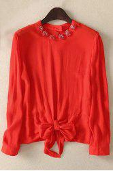 Stylish Round Neck Long Sleeve Bowknot Solid Color Women's Blouse