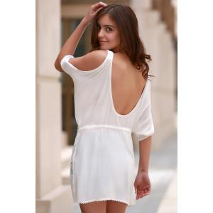 Élégant dentelle blanche Spliced ​​See-Through Mini-robe de la femme - Blanc L