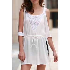 Élégant dentelle blanche Spliced ​​See-Through Mini-robe de la femme