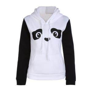 Hooded Long Sleeve Panda Pattern Hoodie - White - Xl