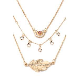 Leaf Rhinestone Multilayered Necklace