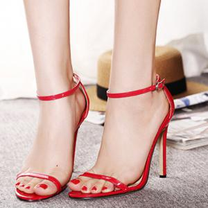 Trendy Strappy and Ankle Strap Design Sandals For Women - RED 39