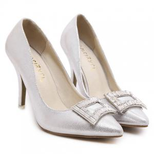 Graceful PU Leather and Rhinestones Design Pumps For Women -
