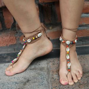 Pair of Knitted Beads Conch Sandal Beach Anklets - KHAKI
