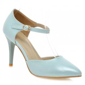 Simple Ankle-Wrap and PU Leather Design Pumps For Women - Light Blue - 38