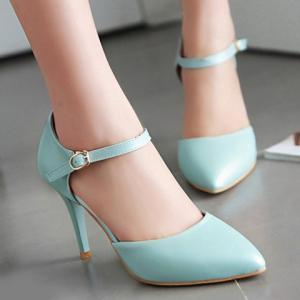 Simple Ankle-Wrap and PU Leather Design Pumps For Women - LIGHT BLUE 38