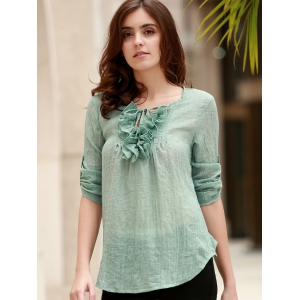 Refreshing Ruffles Jewel Neck Long Sleeve Thin Blouse For Women -