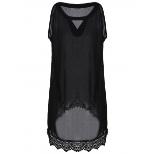 Casual Buttoned Sleeveless Lace Hem Asymmetric T-Shirt -