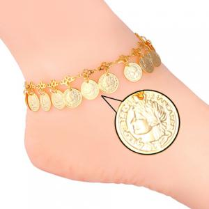 Graceful Solid Color Round Coins Anklet For Women -