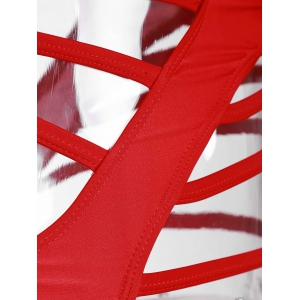 Strappy Bandeau Strapless Monokini Swimsuit - RED M