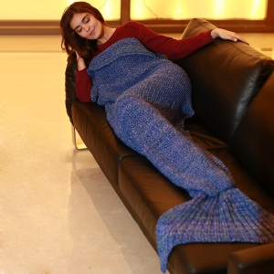 Artist Playfully Redesigns Cozy Mermaid Tails Knitted Blankets and Throws - Blue - W15.75inch*l35.43inch