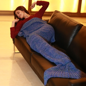 Artist Playfully Redesigns Cozy Mermaid Tails Knitted Blankets and Throws - BLUE W31.50INCH*L70.70INCH