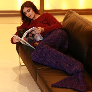 Artist Playfully Redesigns Cozy Mermaid Tails Knitted Blankets and Throws - PURPLE W15.75INCH*L35.43INCH