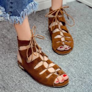 Flat Lace Up Ankle Peep Toe Sandals -