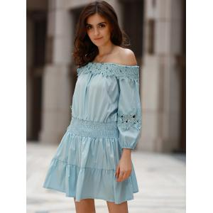 Sweet Style Off-The-Shoulder Long Sleeve Solid Color Elastic Waist Dress For Women - LIGHT BLUE XL