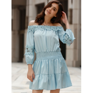 Sweet Style Off-The-Shoulder Long Sleeve Solid Color Elastic Waist Dress For Women -