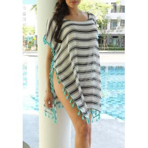 Stripe Tassel Chiffon Tunic Swing Cover Up - Stripe - One Size(fit Size Xs To M)