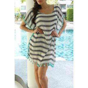Stripe Tassel Chiffon Tunic Swing Cover Up - STRIPE ONE SIZE(FIT SIZE XS TO M)