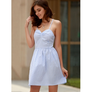 Sexy Style Spaghetti Strap Sleeveless Striped Lace-Up A-Line Dress For Women -