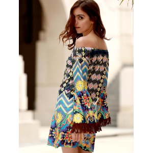 Bohemian Off The Shoulder Ethnic Print Fringed Dress For Women -