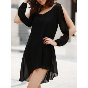 Stylish Scoop Neck Long Sleeve Solid Color See-Through Asymmetrical Hollow Out Dress For Women