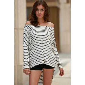 Stylish Jewel Neck Bat-Wing Sleeve Striped Open Back Women's T-Shirt -