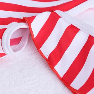 Fresh Style One-Piece Striped Hollow Out Swimsuit For Women -