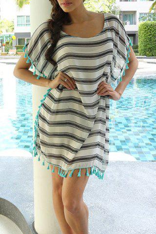 Shop Stripe Tassel Chiffon Tunic Swing Cover Up - ONE SIZE(FIT SIZE XS TO M) STRIPE Mobile