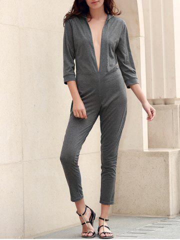 Fancy Sexy Plunging Neck 3/4 Sleeve Gray Slimming Jumpsuit For Women