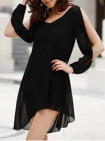 Fancy Stylish Scoop Neck Long Sleeve Solid Color See-Through Asymmetrical Hollow Out Dress For Women BLACK L