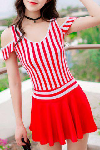 Discount Fresh Style One-Piece Striped Hollow Out Swimsuit For Women