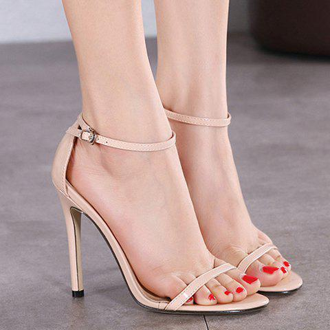 Chic Trendy Strappy and Ankle Strap Design Sandals For Women - 37 APRICOT Mobile