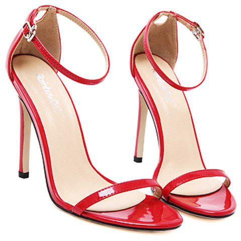 Sale Trendy Strappy and Ankle Strap Design Sandals For Women - 38 RED Mobile