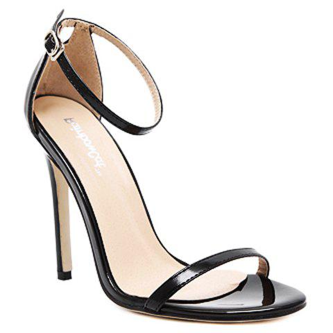 Sale Trendy Strappy and Ankle Strap Design Sandals For Women - 39 BLACK Mobile