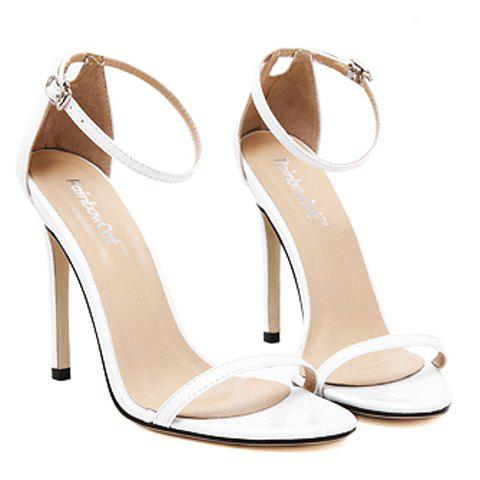 Cheap Trendy Strappy and Ankle Strap Design Sandals For Women - 38 WHITE Mobile