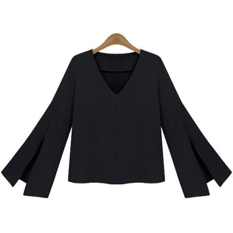 Store V-Neck Flare Sleeve Blouse BLACK XL
