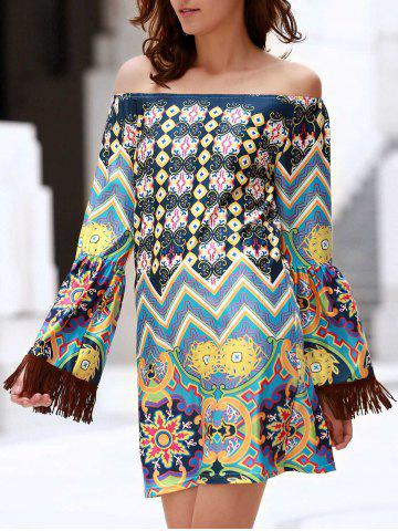 Fancy Bohemian Off The Shoulder Ethnic Print Fringed Dress For Women