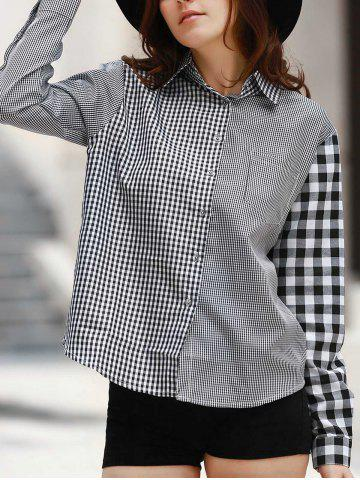 Outfits Casual Style Shirt Collar Long Sleeve Irregular Plaid Shirt For Women