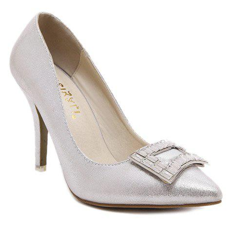 Discount Graceful PU Leather and Rhinestones Design Pumps For Women