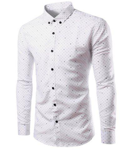 Sale Casual Shirt Collar Trident Print Long Sleeves Slimming Button-Down Shirt For Men
