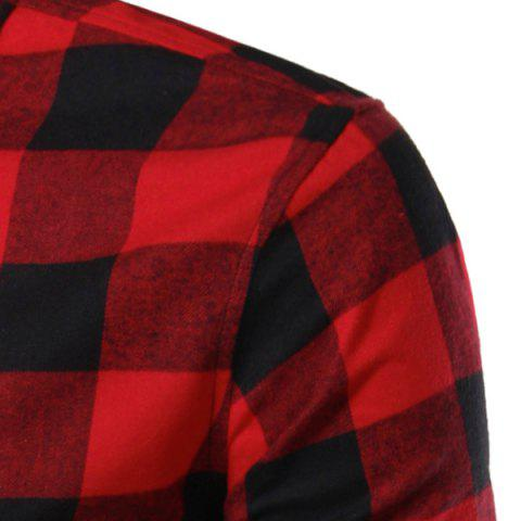 Slimming Color Block Plaid Shirt Collar Long Sleeves Shirt For Men от Rosegal.com INT