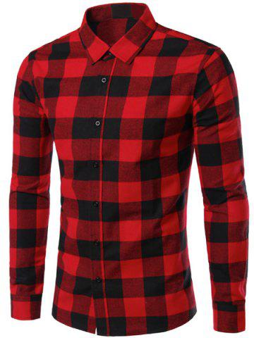 Outfits Slimming Color Block Plaid Shirt Collar Long Sleeves Shirt For Men