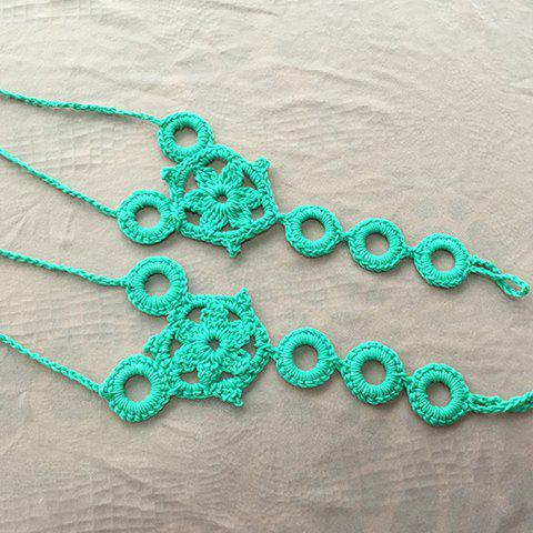 Chic Pair of Trendy Knitted Circular Floral Sandal Anklets For Women