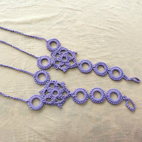 Pair of Trendy Knitted Circular Floral Sandal Anklets For Women - Purple