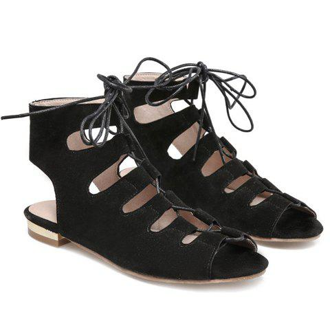 Shops Flat Lace Up Ankle Peep Toe Sandals - 39 BLACK Mobile