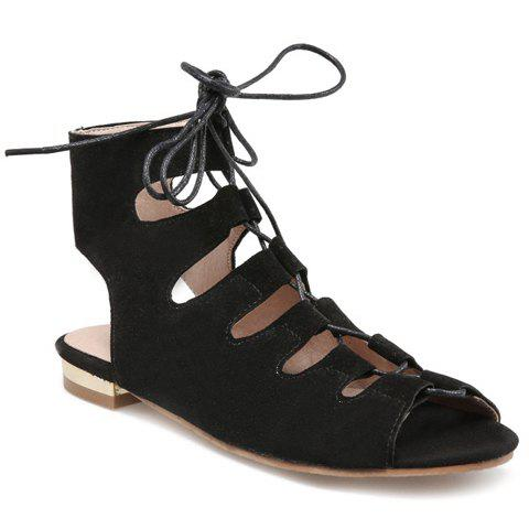 Hot Flat Lace Up Ankle Peep Toe Sandals - 39 BLACK Mobile